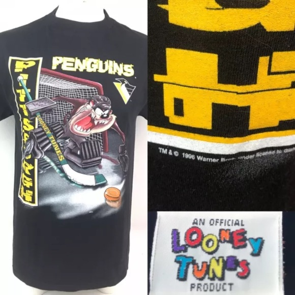 promo code 5879e 8f1d3 90s Pittsburgh Penguins NHL Looney Tunes T Shirt